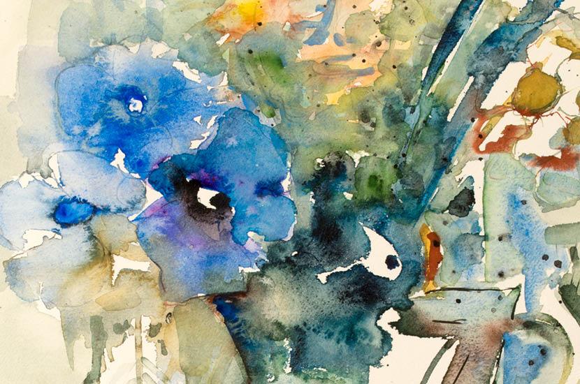 Aquarelle mit Tusche